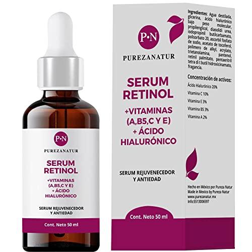 Serum Retinol + Vitaminas A, B5, E, C + Acido hialuronico facial hidratante y reparador   Suero Reductor de líneas de expresión e imperfecciones en la piel