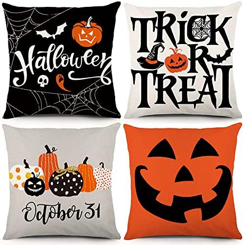 YGEOMER Juego de 4 Fundas de Almohada para Halloween, 45 x 45 cm, diseño de Calabaza, para decoración de Halloween, para sofá, sofá, sofá