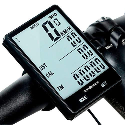 Redlemon Velocímetro Digital y Computadora para Bicicleta, a Prueba de Agua (IPX6), con Pantalla LCD Retroiluminada y Funciones como Odómetro, Calorías, Tiempo, Temperatura y Medidor de Distancia
