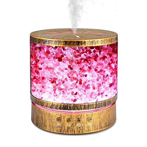 Sheoolor Difusor de aceite esencial de 400 ml para habitación grande 20 horas, difusor de lámpara de sal del Himalaya con 7 luces que cambian de color, difusor de aromaterapia con 2 temporizadores y apagado automático sin agua para oficina en casa