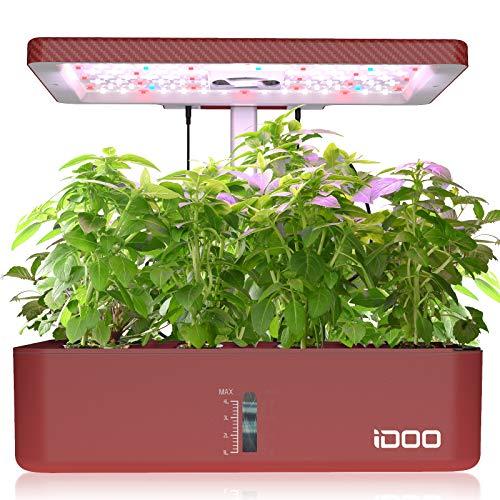 iDOO - Jardín de hierbas de interior, sistema de cultivo hidropónico de 12 cápsulas para ventilador de encimera de cocina, kit de germinación de plantas con luz de cultivo, sincronización automática, hasta 11 pulgadas (rojo)