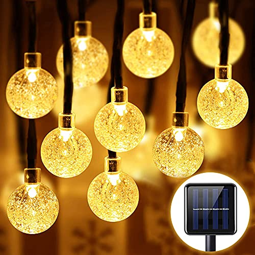 Guirnaldas Luces Exterior Solar, VOICEPTT 7M 50LED Cadena de Bola Cristal Luz, 8 modos iluminación de Impermeable Cadena para Exterior Y Interior Decoración para Jardín, Dormitorio,Fiestas, Bodas, Patio (Amarillo cálido)