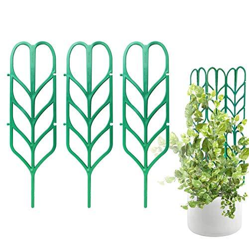 PeerBasics, Enrejado de plantas de interior, paquete de 3 unidades, soporte para escalar en forma de hoja de jardín, para tallos de escalada y tallos de vid y huerto en maceta (3)