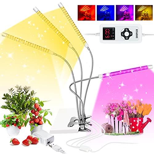 Luces de cultivo para plantas de interior de espectro completo, luces LED con temporizador 3 6 9 12H, 9 niveles regulables de crecimiento con espectro rojo azul, 4 modos de interruptor, cuello de cisne ajustable