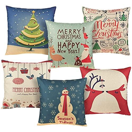 Juvale - Fundas rústicas de cojín navideñas, con diseño «Merry Christmas», 6 unidades, 46 x 46cm