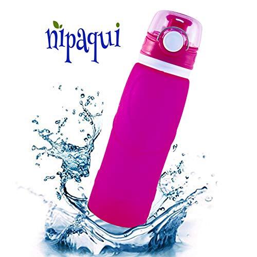 Nipaqui Botella de agua plegable para deportes, ligera, portátil, de silicona, a prueba de fugas, enrollable, sin BPA, para viajes y al aire libre