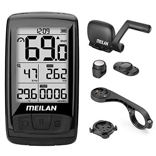 MEILAN M4 Computadora de Bicicleta Inalámbrica, ANT+ BLE4.0 Odómetro de Bicicleta con Sensor de Cadencia/Velocidad, Impermeable Ordenador de Ciclismo con Pantalla LCD Retroiluminada de 2,5 pulgadas