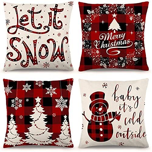 Juego de 4 fundas de almohada de Navidad de 45.7 cm x 45.7 cm, funda de almohada de lino rústico para festividades, diseño de granja, rojo y blanco, a cuadros, para sofá, sillón, decoración de Navidad de Zjhai