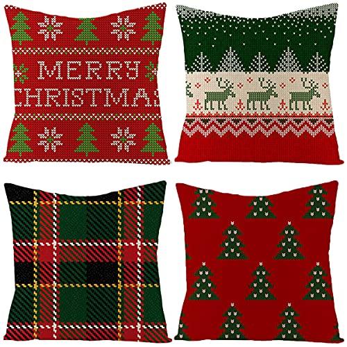 Lumine Merry Christmas - Juego de 4 fundas de almohada decorativas con diseño de árbol de Papá Noel en ambos lados (45 cm), diseño de árbol de Papá Noel, color rojo y verde